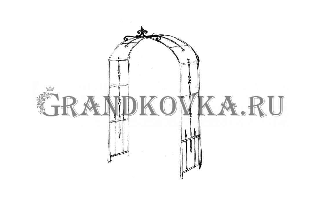 Эскиз кованой арки ЭКАРК-353