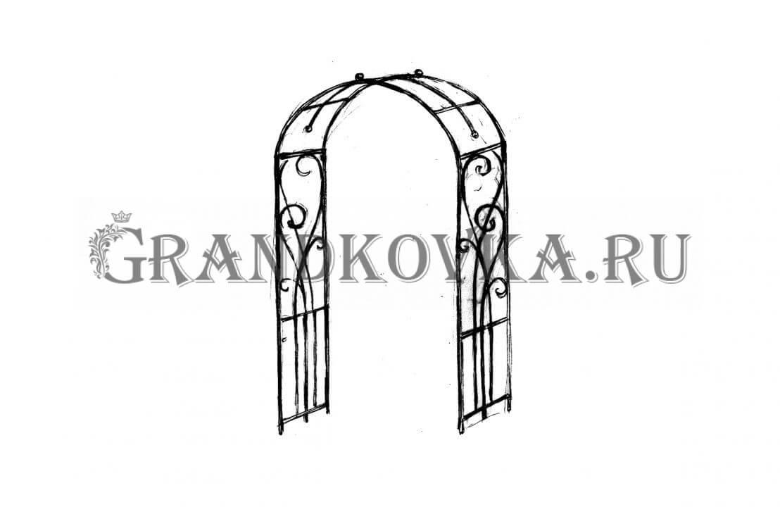 Эскиз кованой арки ЭКАРК-354