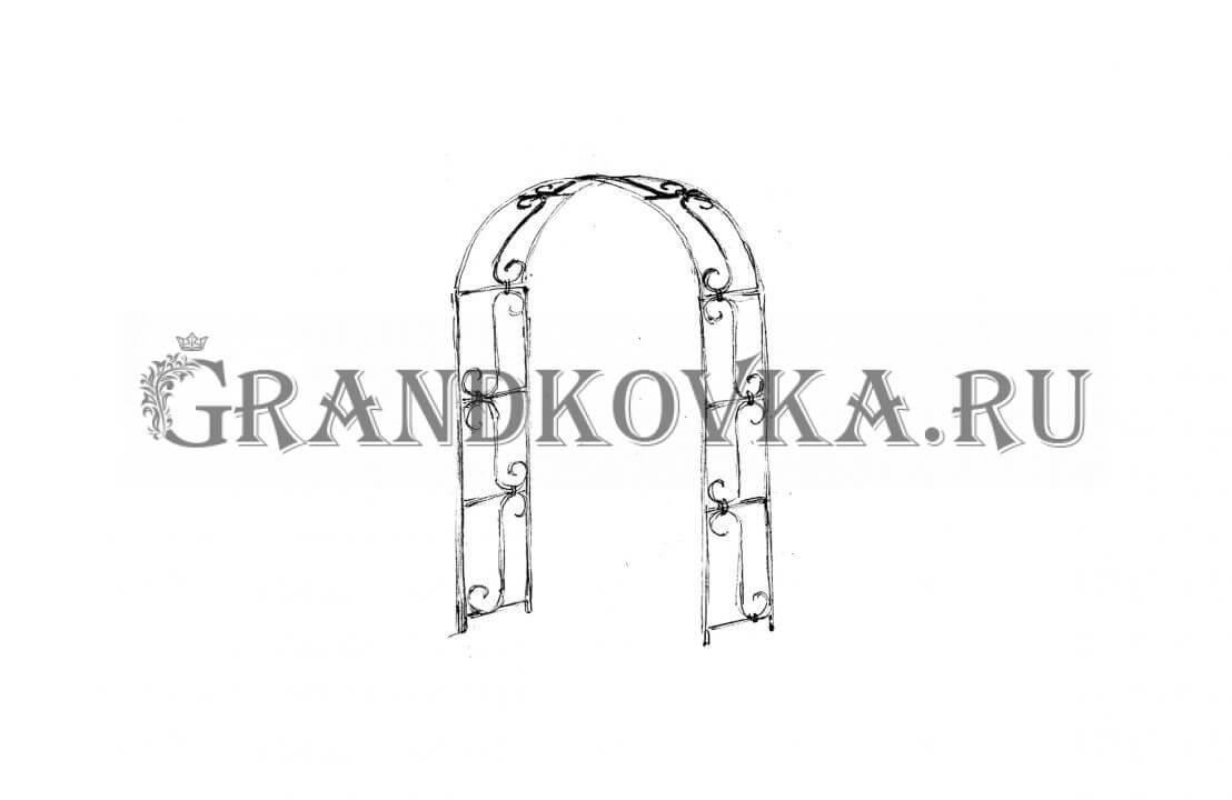 Эскиз кованой арки ЭКАРК-356
