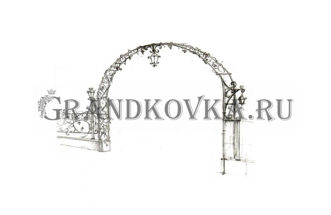 Эскиз кованой арки ЭКАРК-359