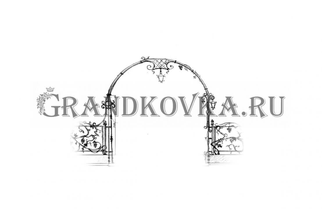 Эскиз кованой арки ЭКАРК-360