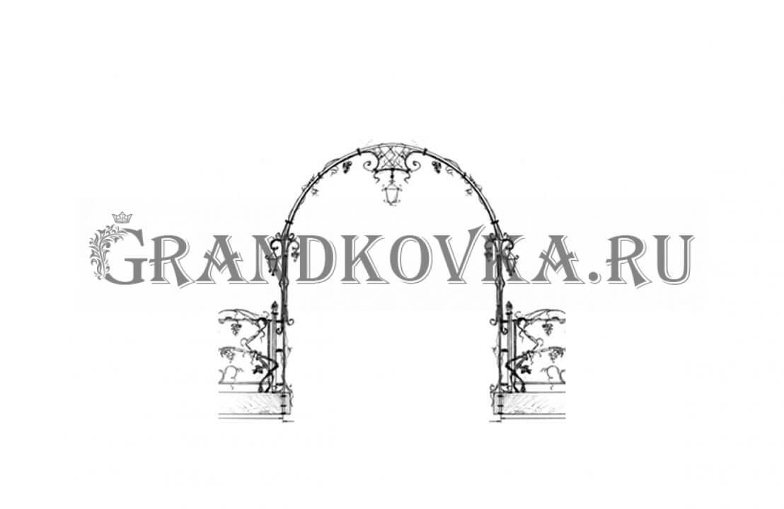 Эскиз кованой арки ЭКАРК-362