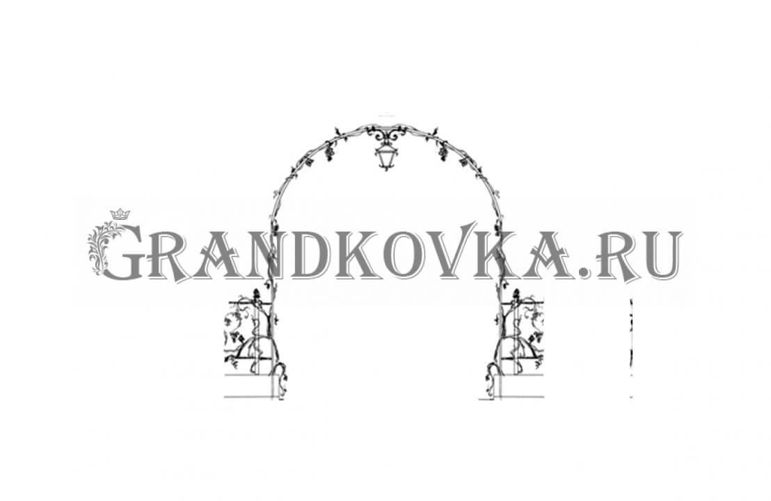 Эскиз кованой арки ЭКАРК-363