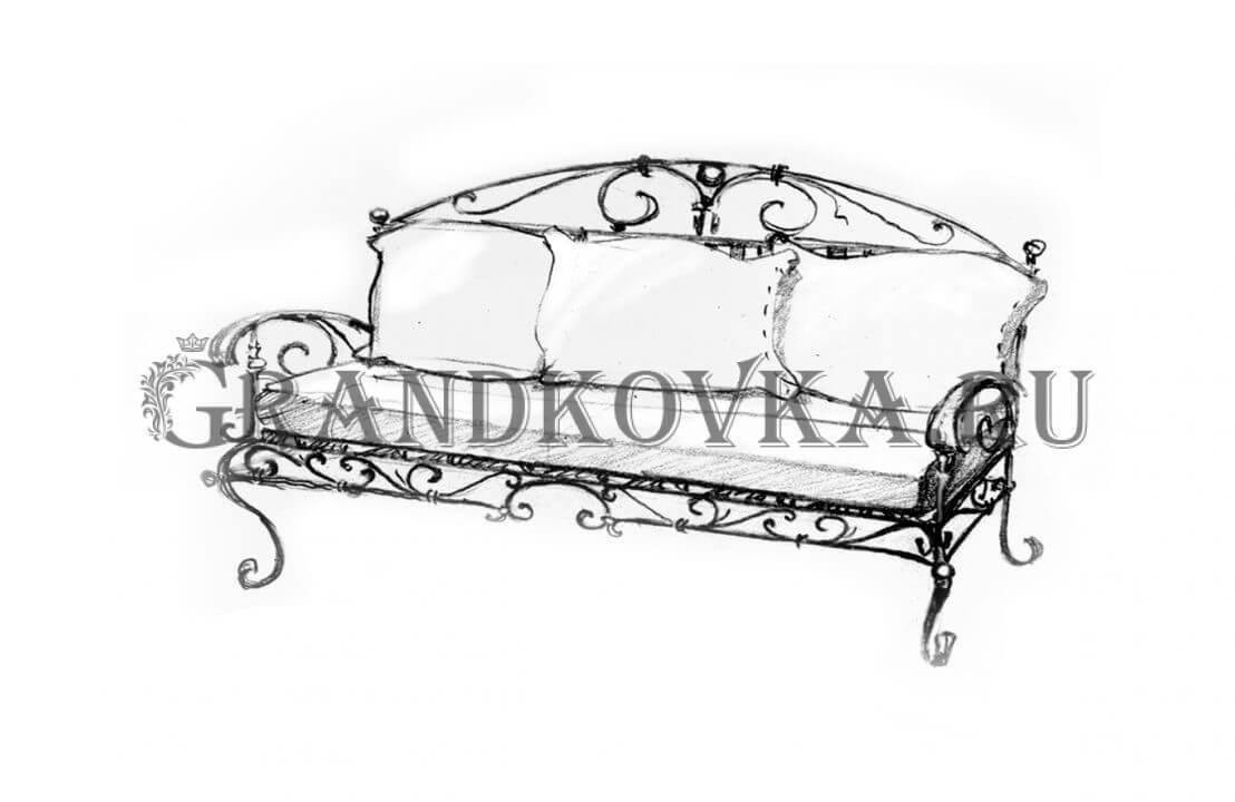 Эскиз кованого дивана ЭКДИВ-52