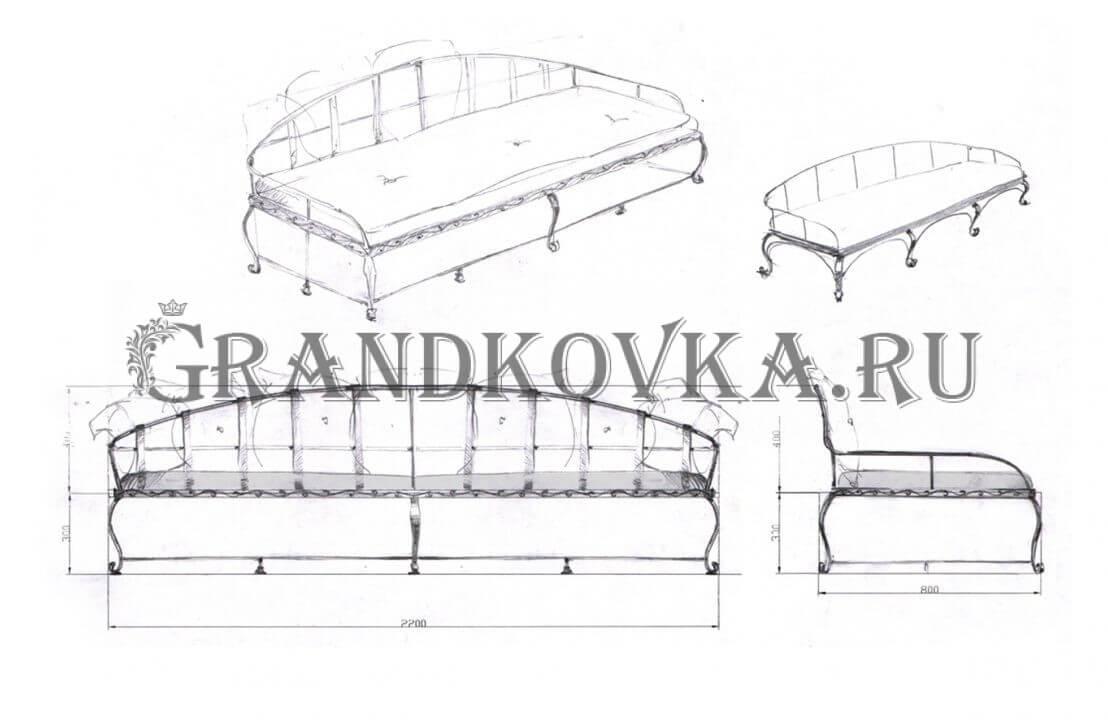 Эскиз кованого дивана ЭКДИВ-53