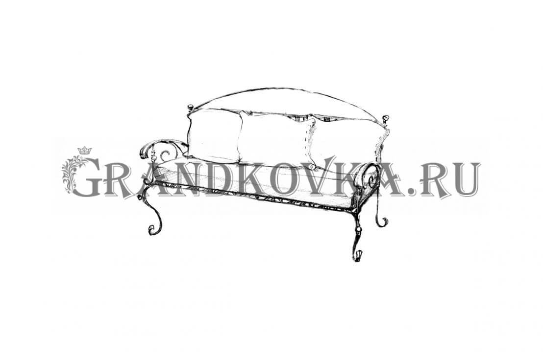Эскиз кованого дивана ЭКДИВ-57