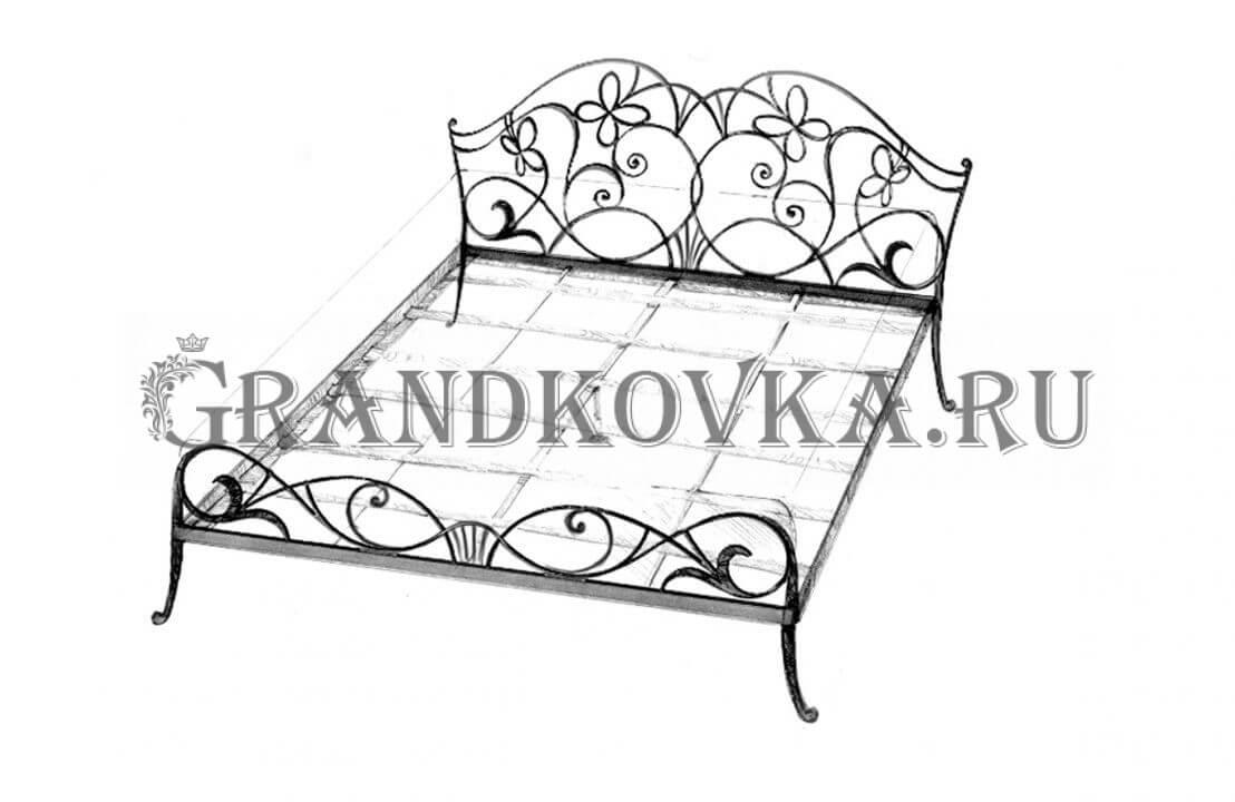 Эскиз кованой кровати ЭККРОВ-128