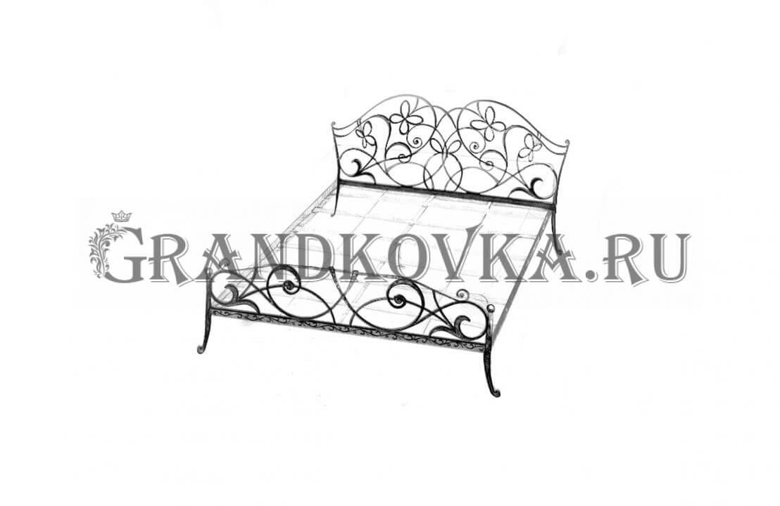 Эскиз кованой кровати ЭККРОВ-129