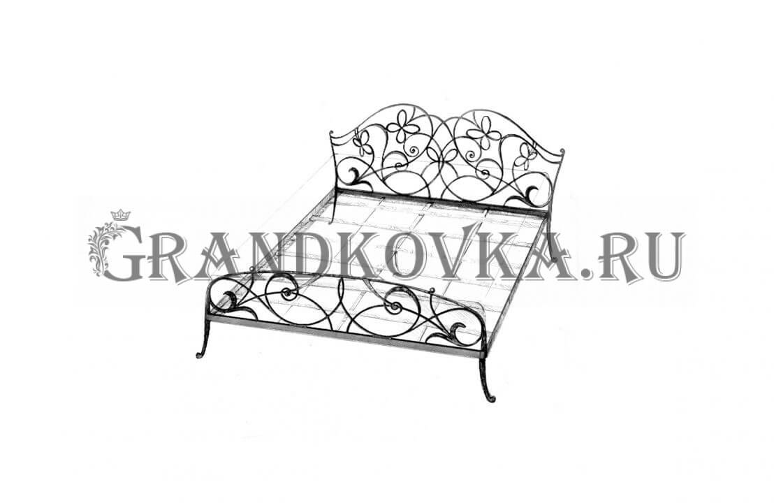 Эскиз кованой кровати ЭККРОВ-130