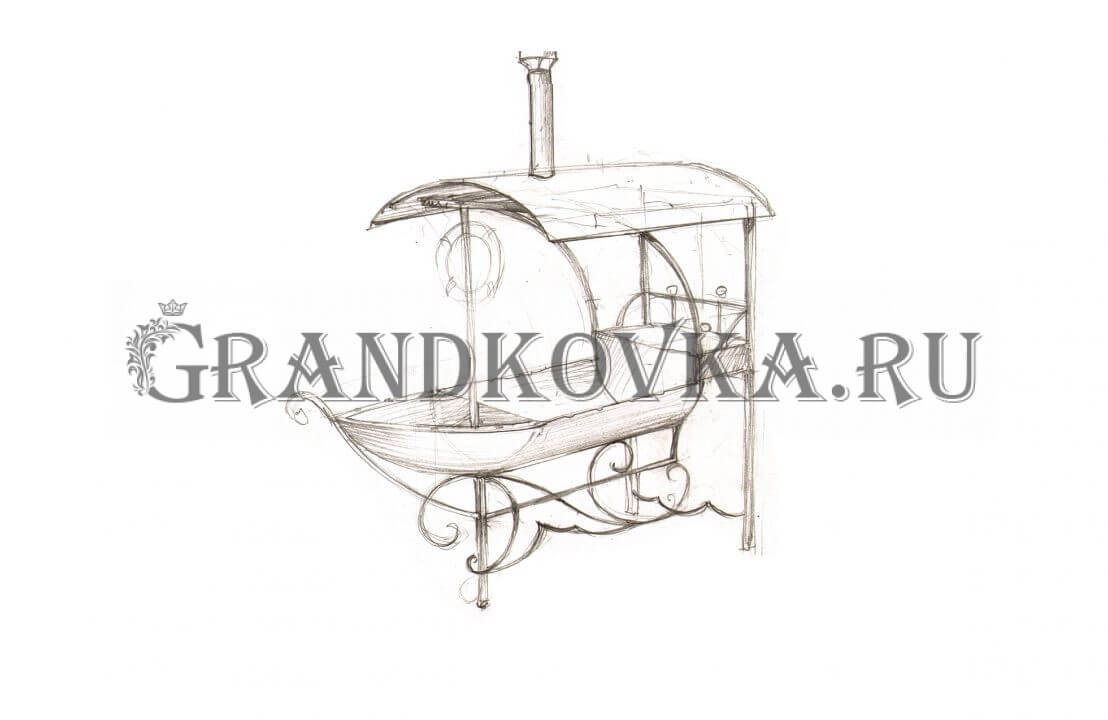 Эскиз кованого мангала ЭКМАНГ-215