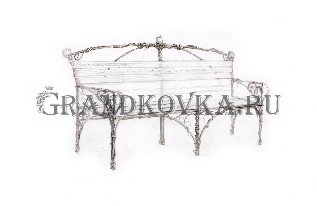 Эскиз кованой скамьи ЭКСКАМ-40