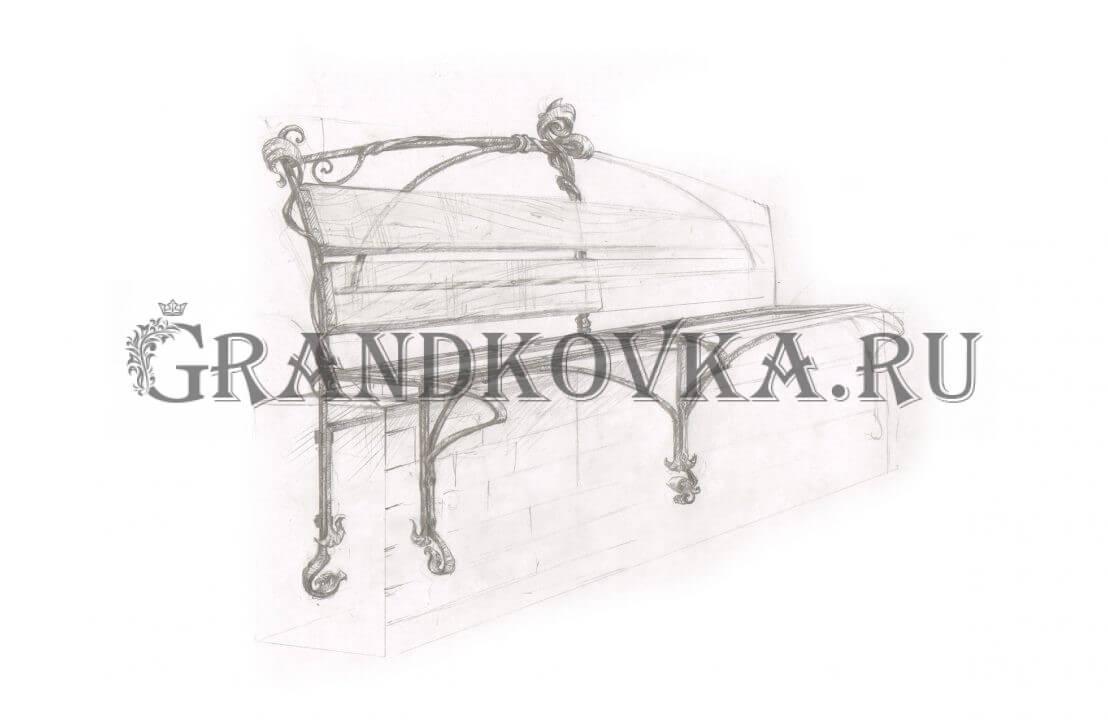 Эскиз кованой скамьи ЭКСКАМ-41