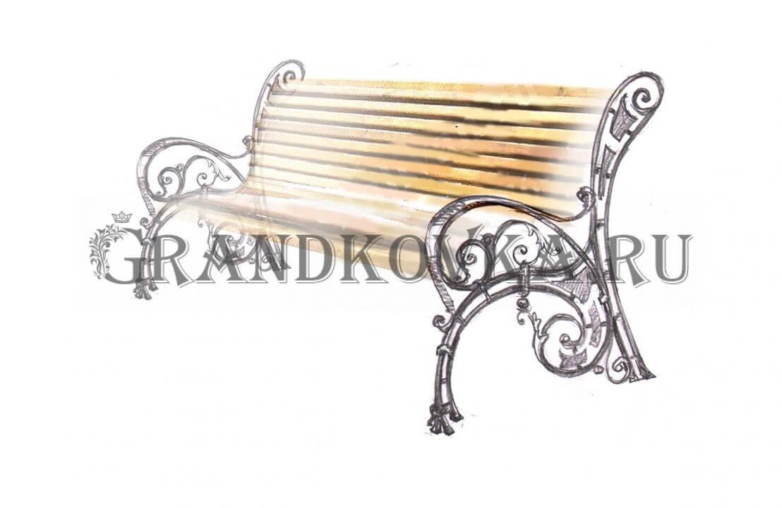 Эскиз кованой скамьи ЭКСКАМ-43