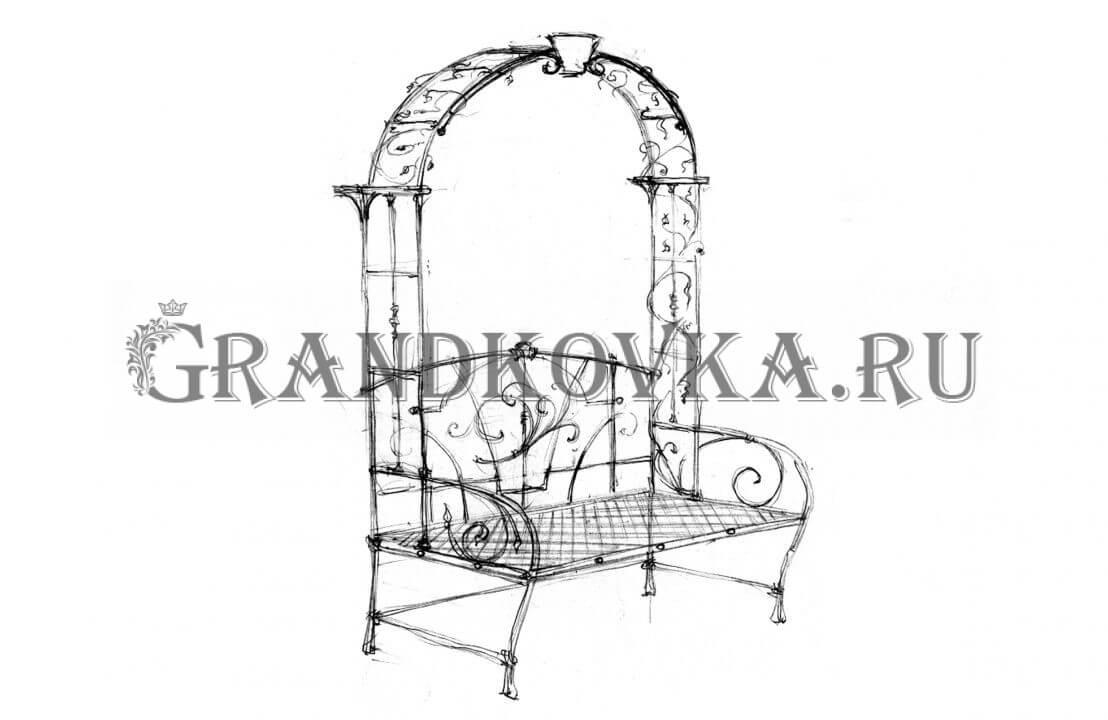 Эскиз кованой скамьи ЭКСКАМ-46