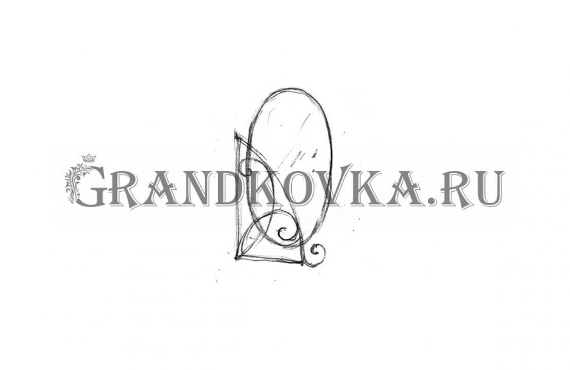 Эскиз кованого зеркала ЭКЗЕР-157