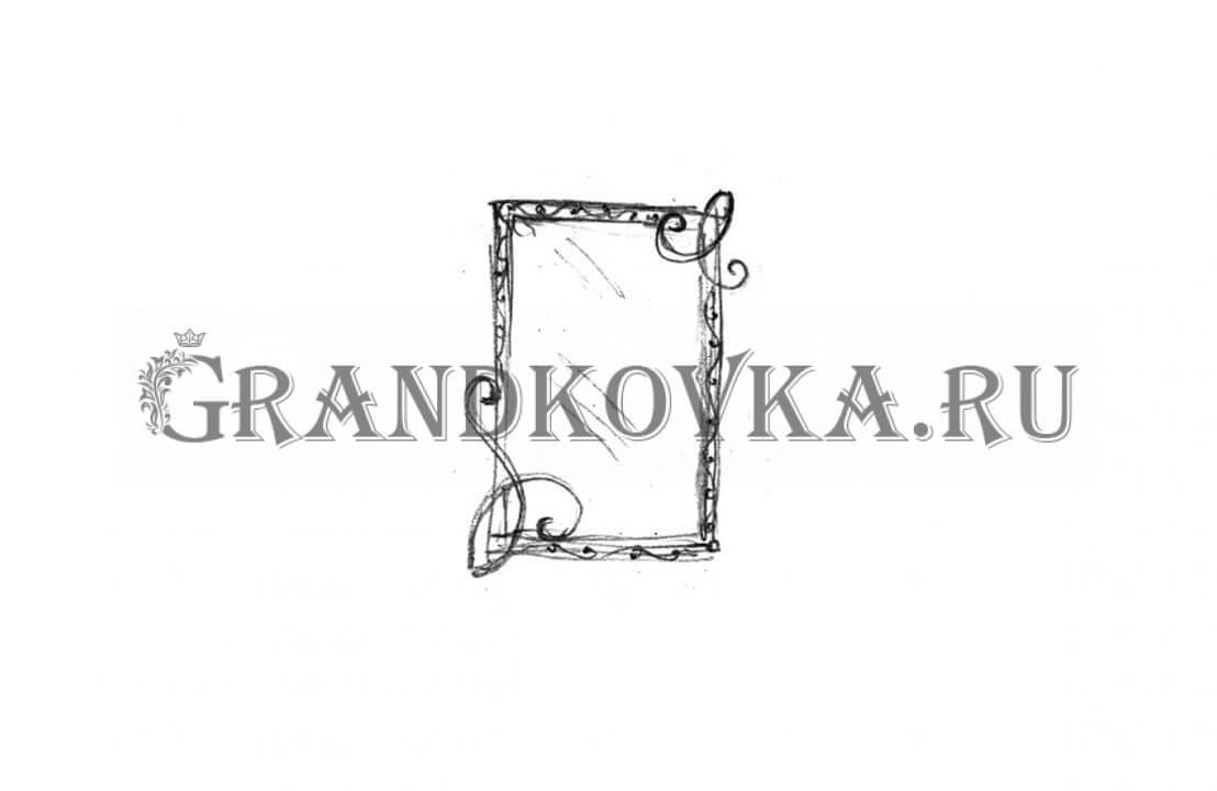 Эскиз кованого зеркала ЭКЗЕР-158