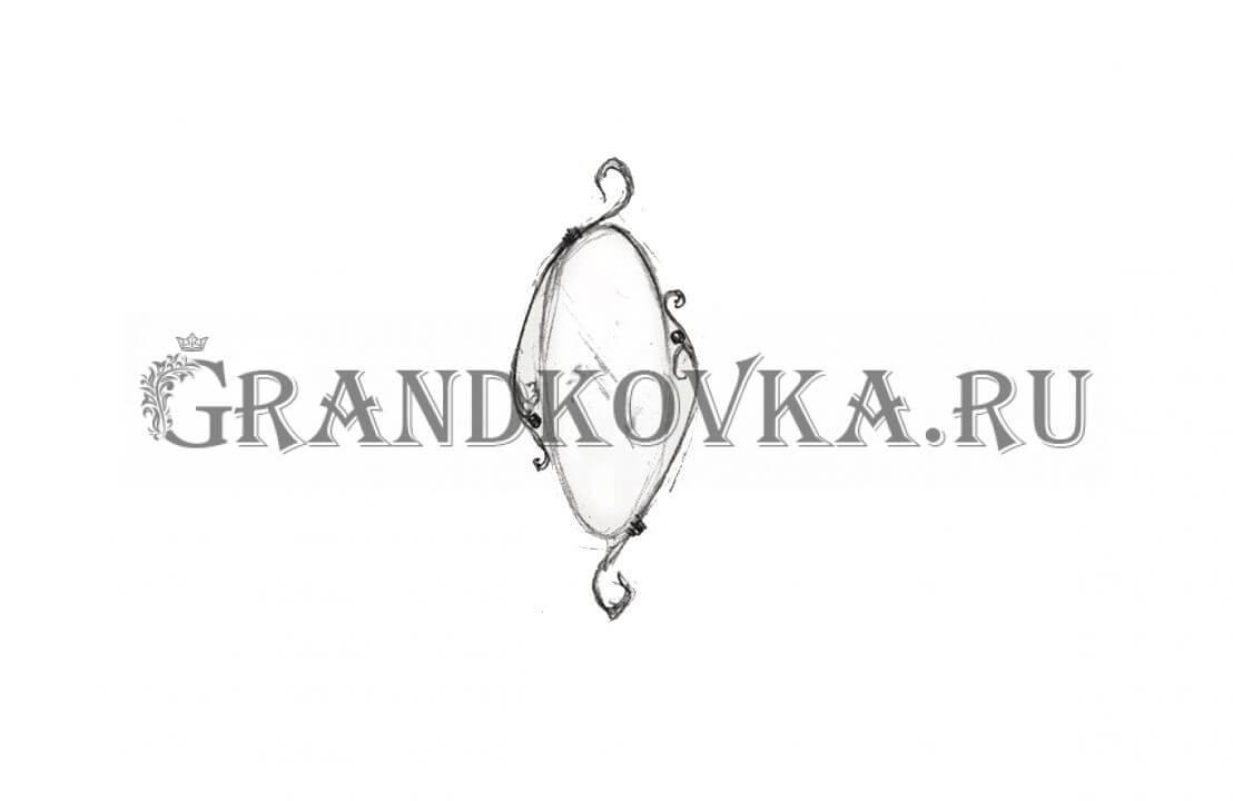 Эскиз кованого зеркала ЭКЗЕР-160