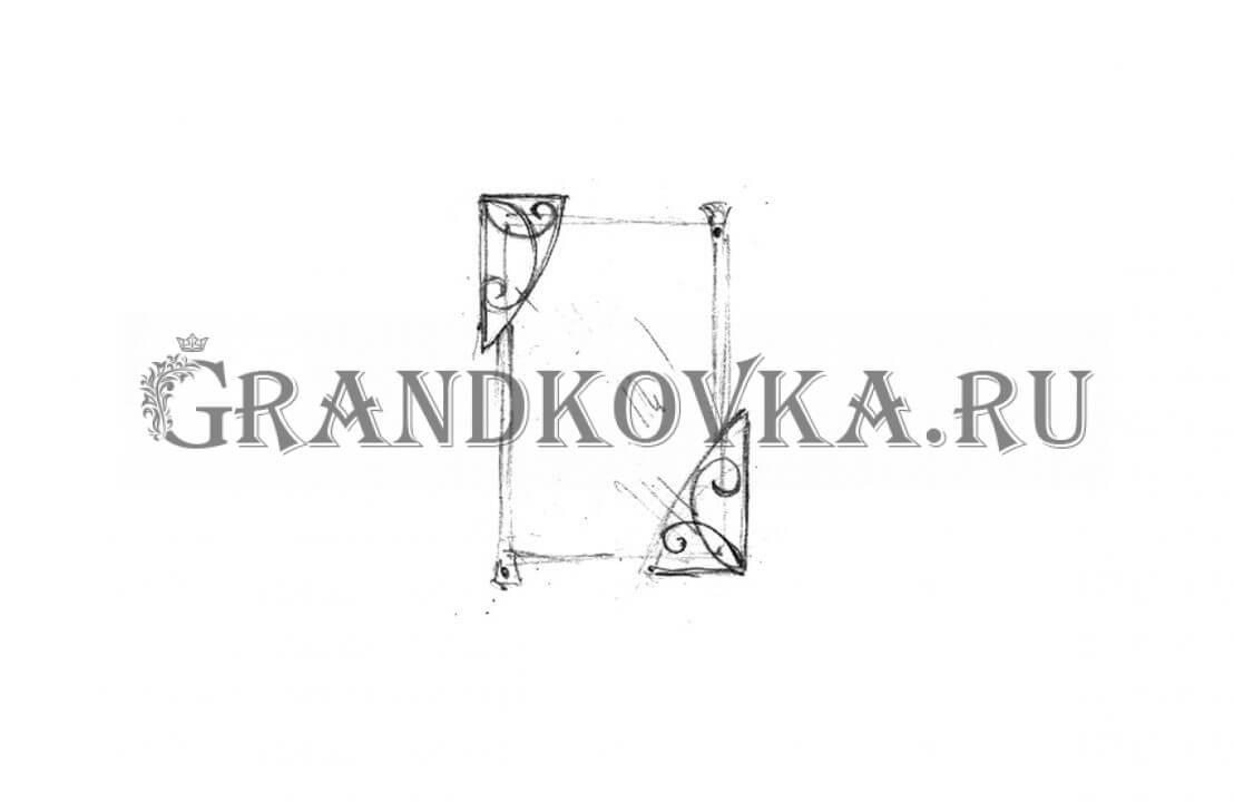 Эскиз кованого зеркала ЭКЗЕР-163