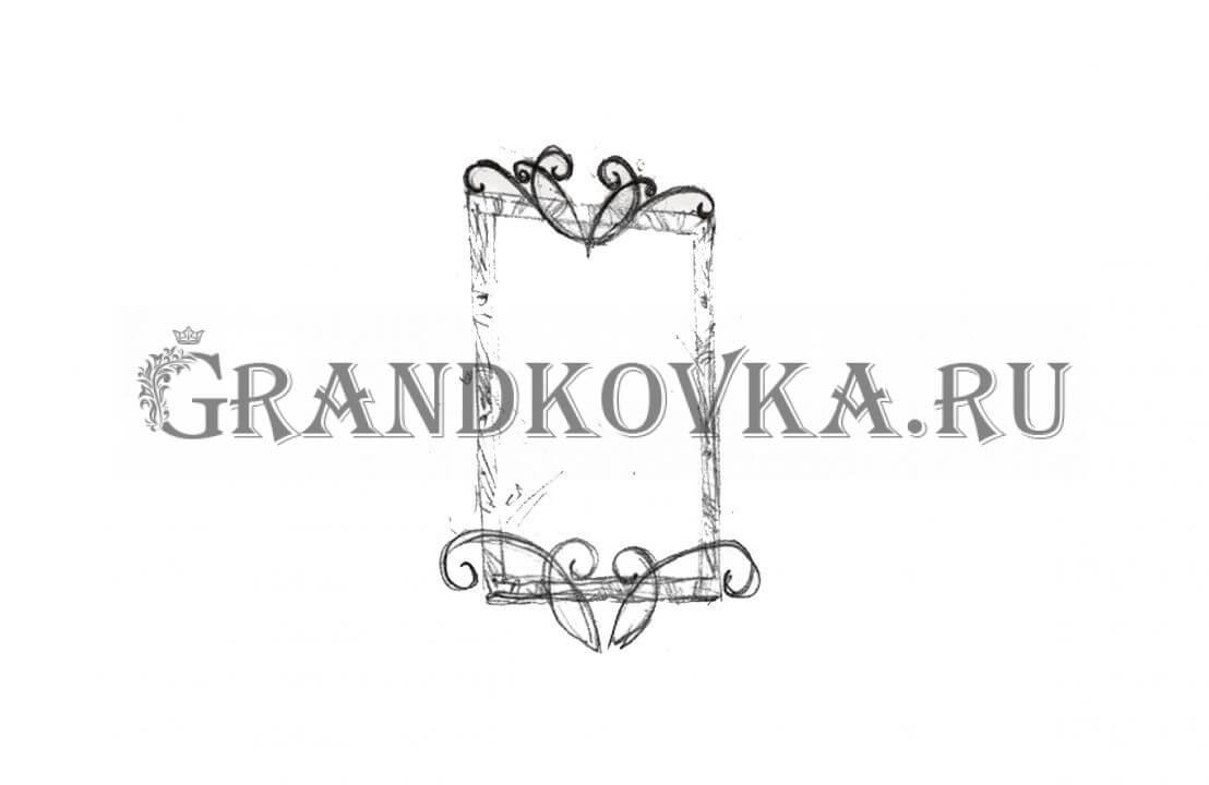 Эскиз кованого зеркала ЭКЗЕР-166