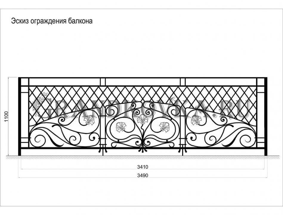 Эскиз балконной кованой решетки 4
