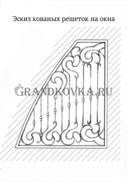 Эскиз кованой решетки на окно 3