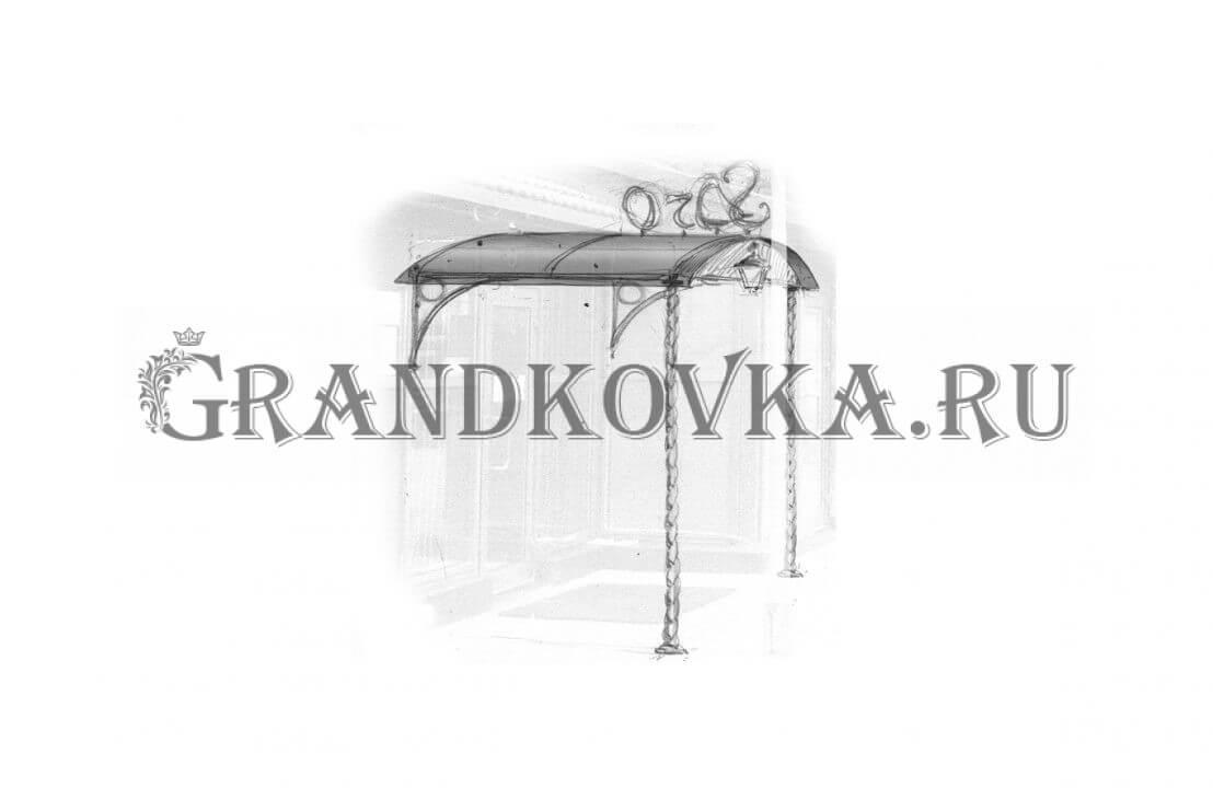 Эскиз навеса над дверью ЭКНАВЕС-365