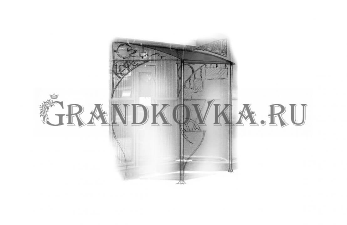 Эскиз навеса над дверью ЭКНАВЕС-367