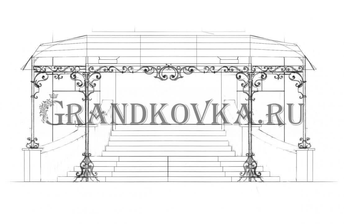 Эскиз навеса над крыльцом ЭКНАВЕС-433