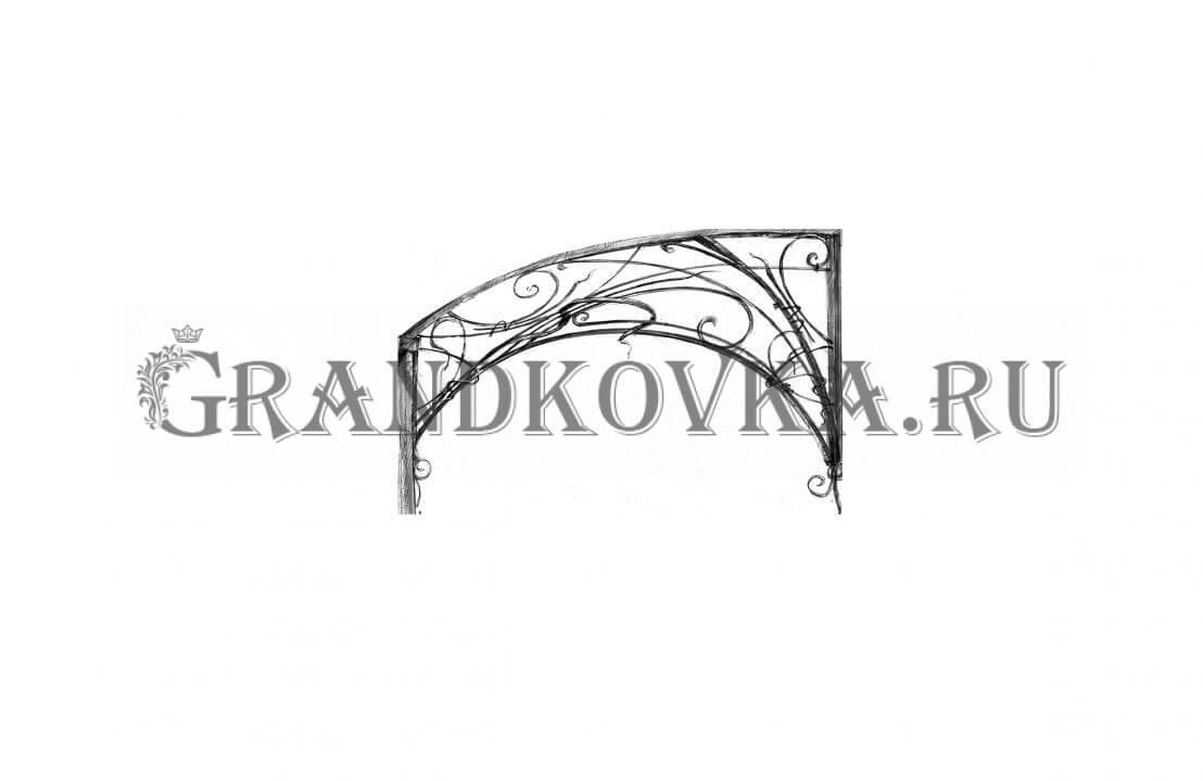 Эскиз навеса над дверью ЭКНАВЕС-437