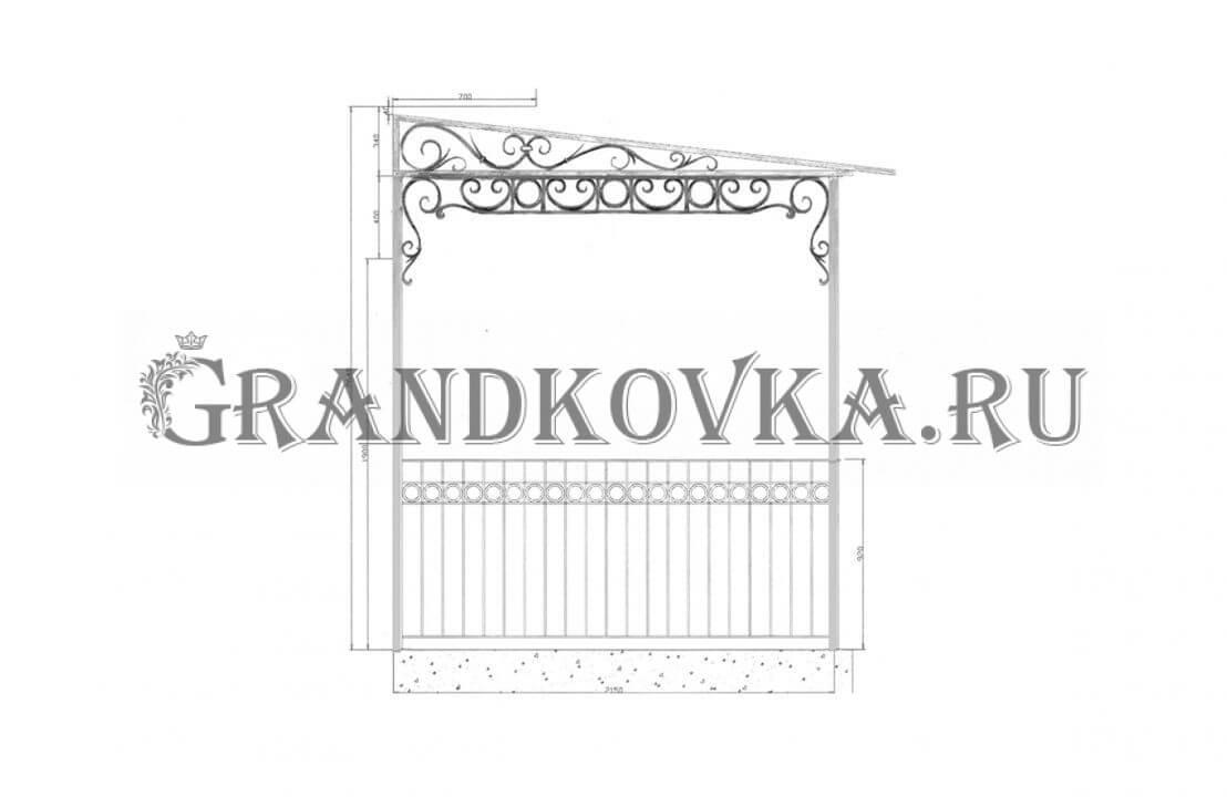 Эскиз навеса над дверью ЭКНАВЕС-439