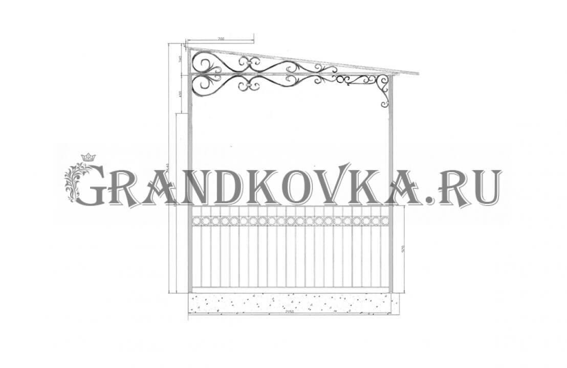 Эскиз навеса над дверью ЭКНАВЕС-440