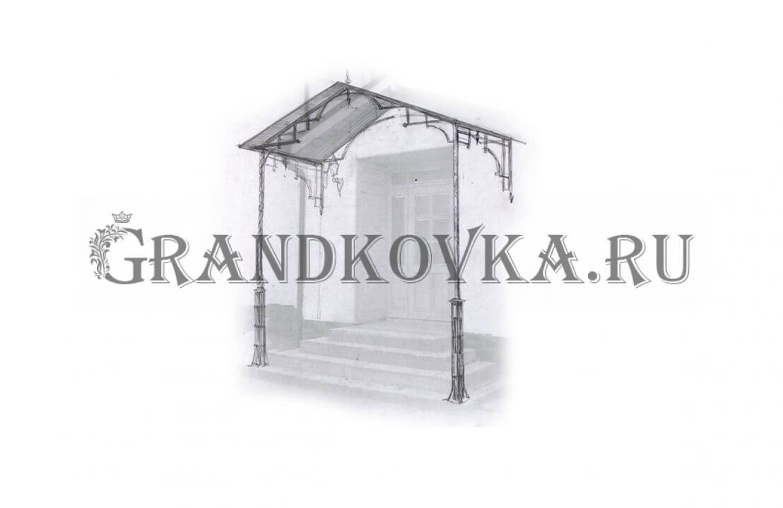 Эскиз навеса над дверью ЭКНАВЕС-481