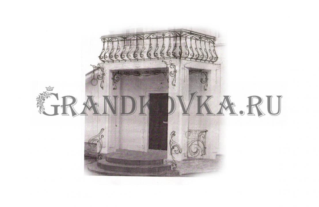 Эскиз навеса над дверью ЭКНАВЕС-508