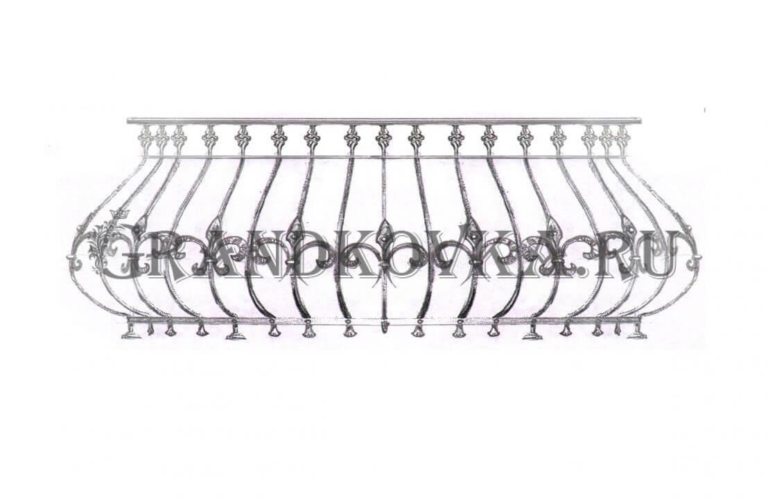 Эскиз кованой решетки на окно ЭКОКН-339