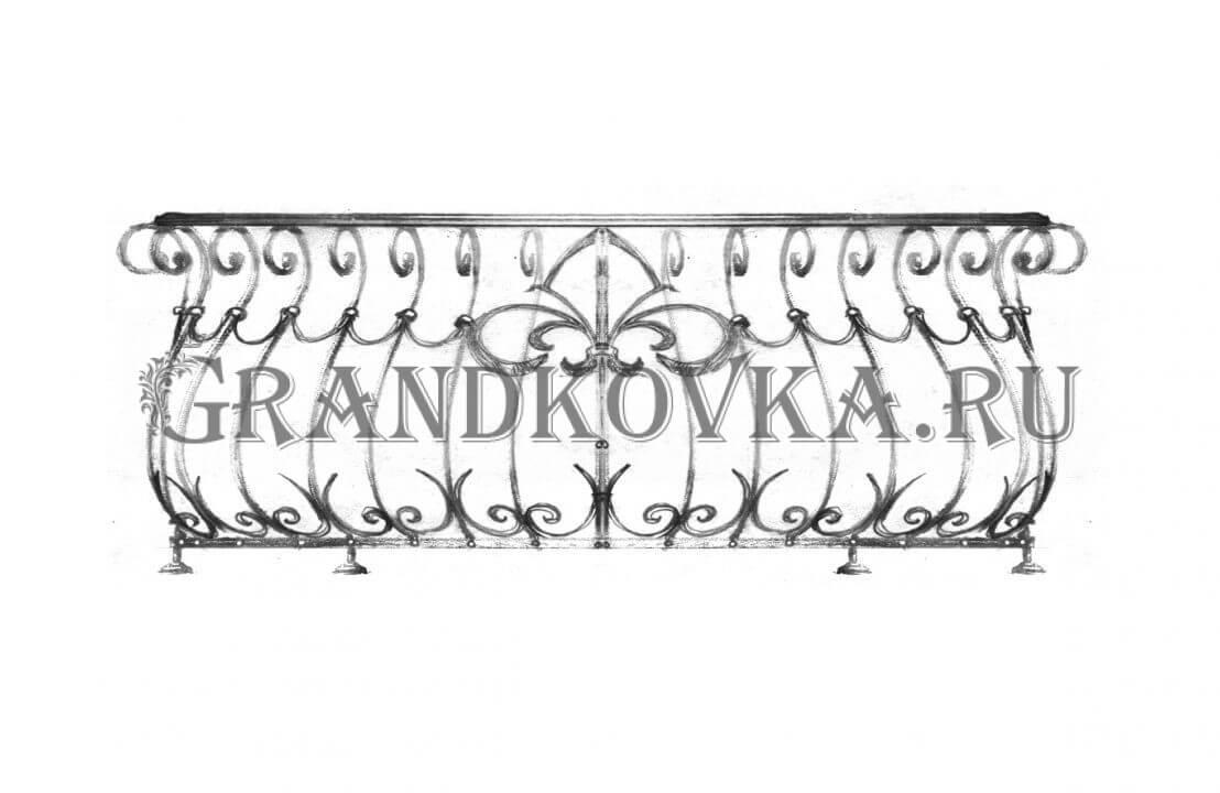 Эскиз кованой решетки на окно ЭКОКН-342
