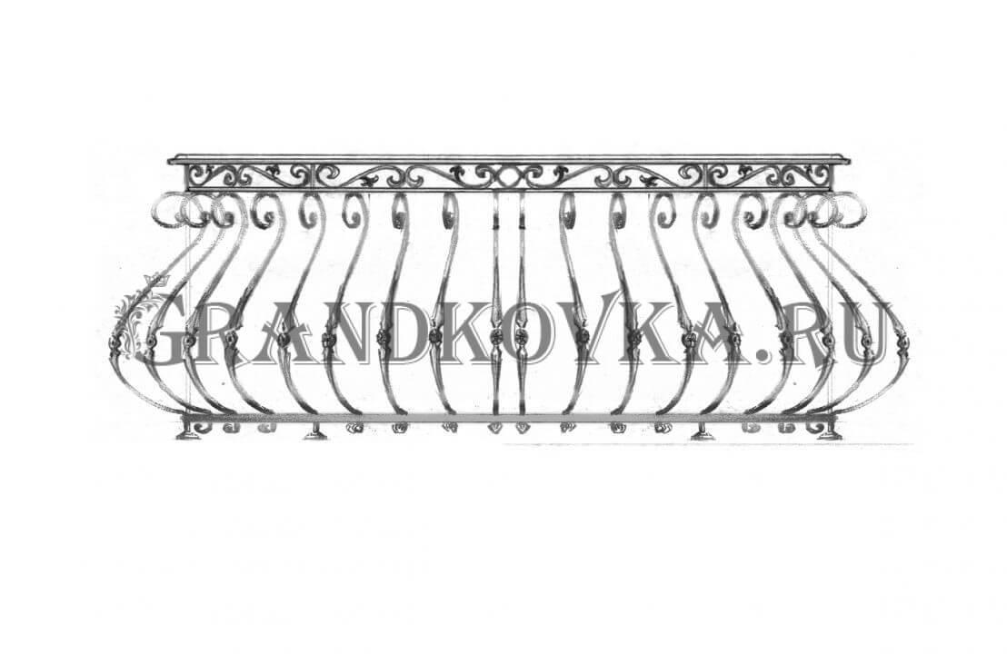 Эскиз кованой решетки на окно ЭКОКН-343
