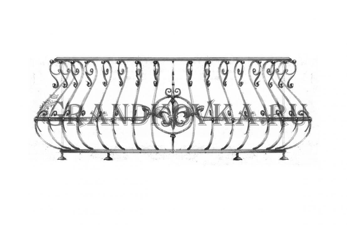 Эскиз кованой решетки на окно ЭКОКН-344