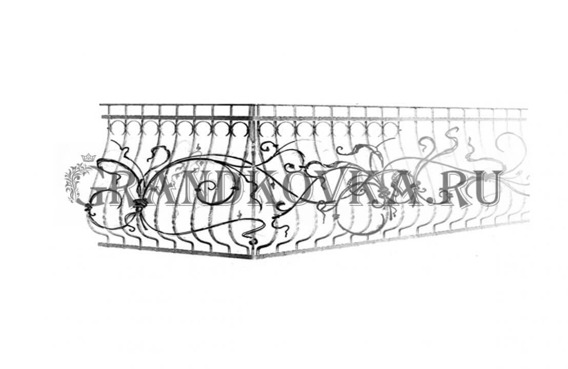 Эскиз кованой решетки на балкон ЭКОКН-345