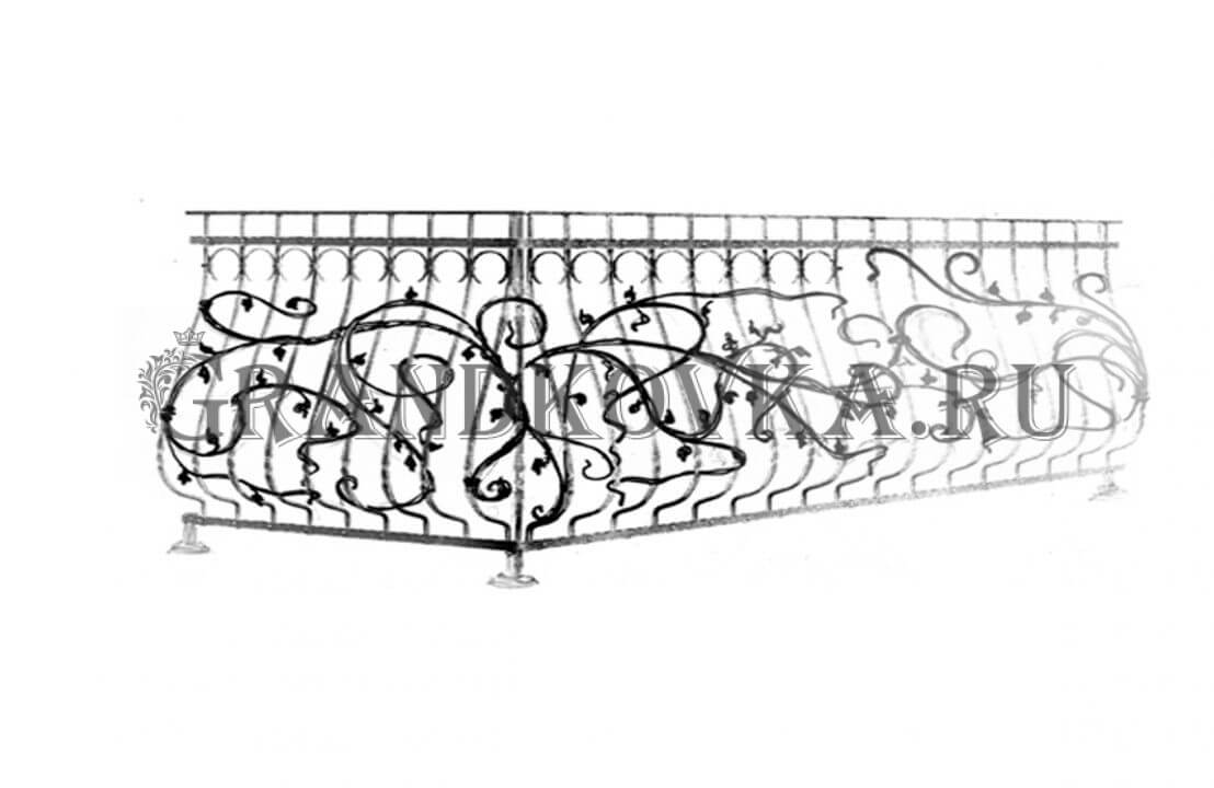 Эскиз кованой решетки на балкон ЭКОКН-346
