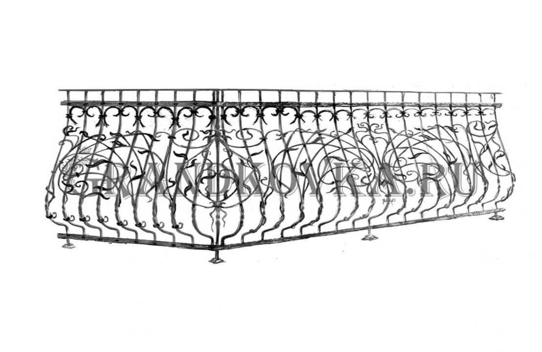 Эскиз кованой решетки на балкон ЭКОКН-347