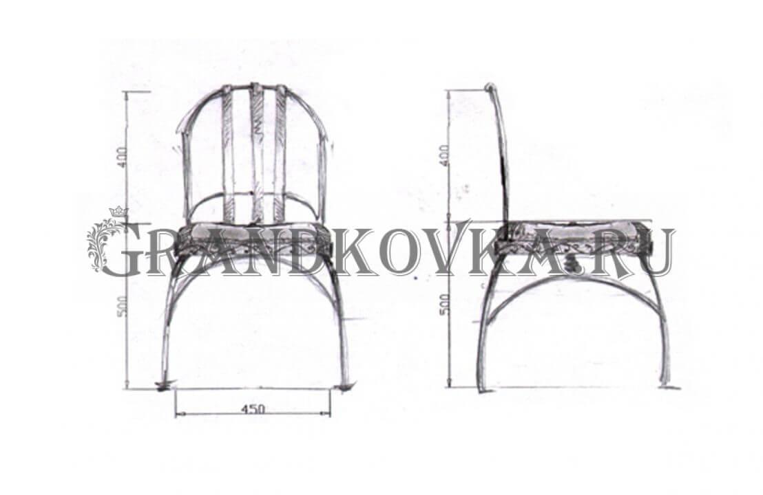 Эскиз кованого стула ЭКСТУЛ-34