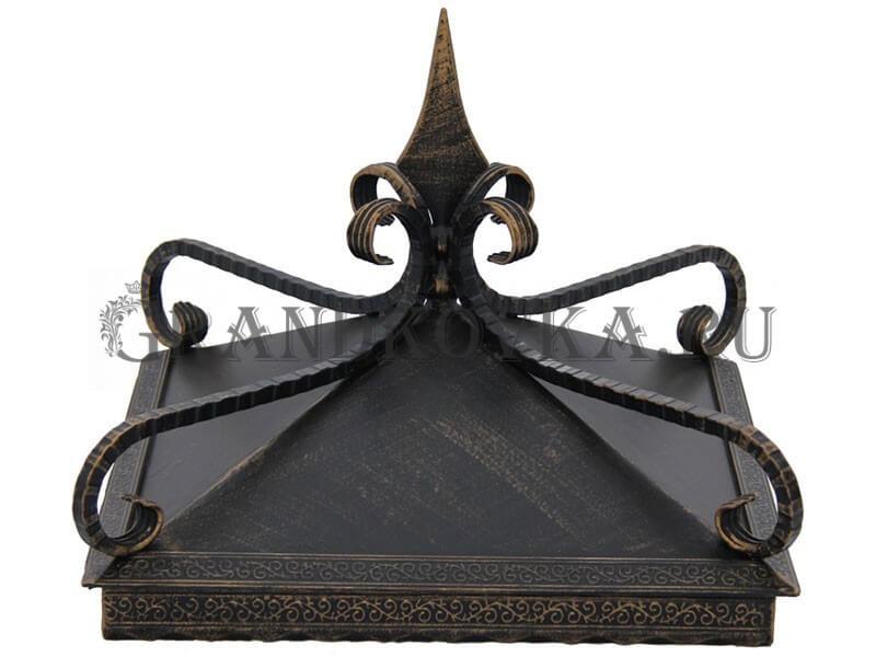 Фото кованого колпака на кирпичный столб забора 17