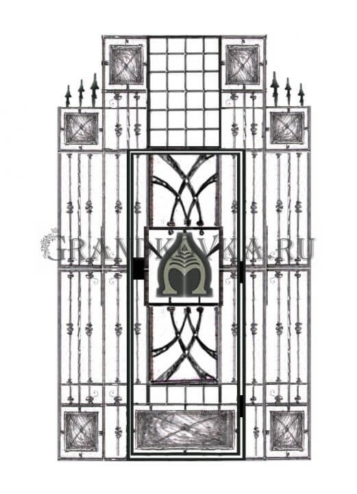 Эскиз кованой решетки на дверь 2