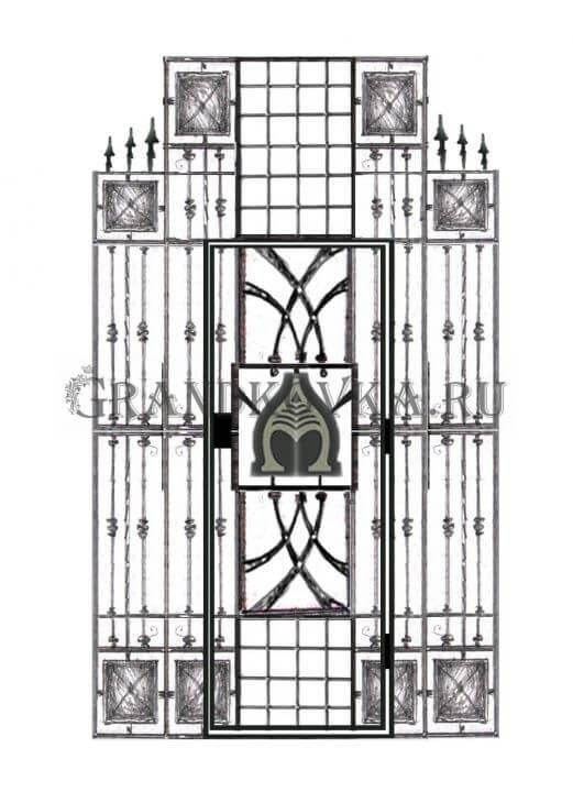 Эскиз кованой решетки на дверь 3