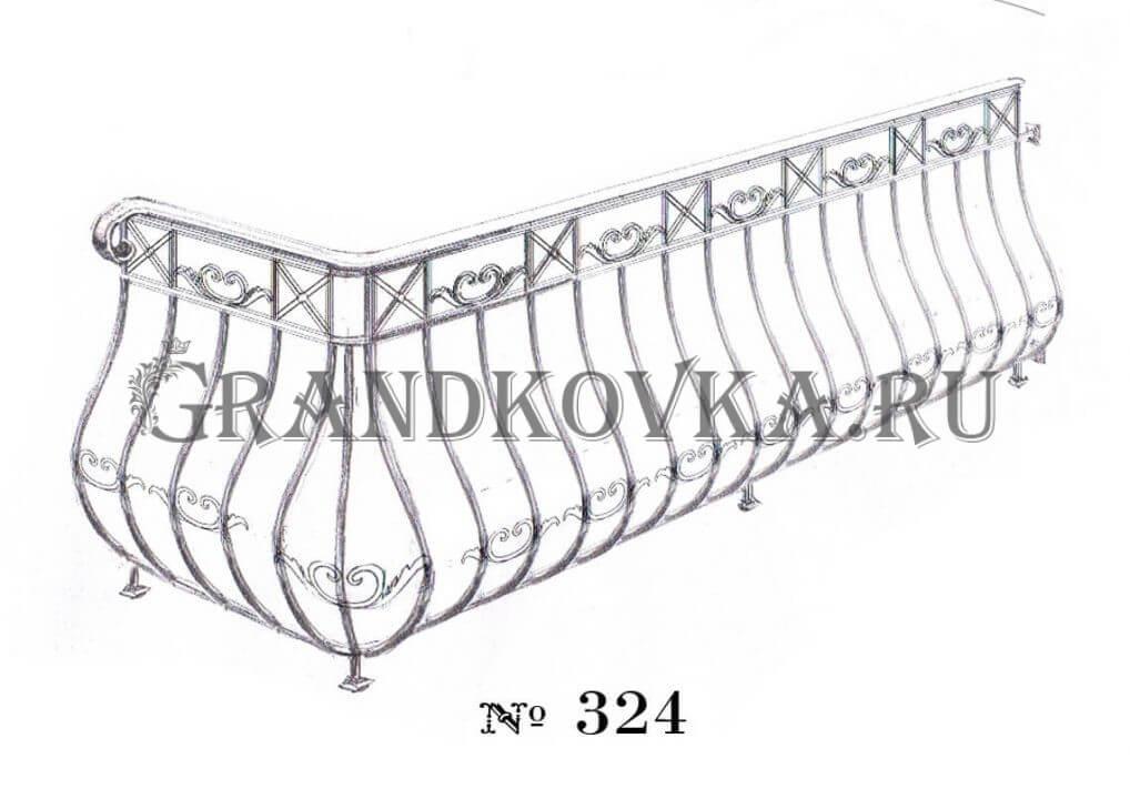 Эскиз кованых перил для балкона 3