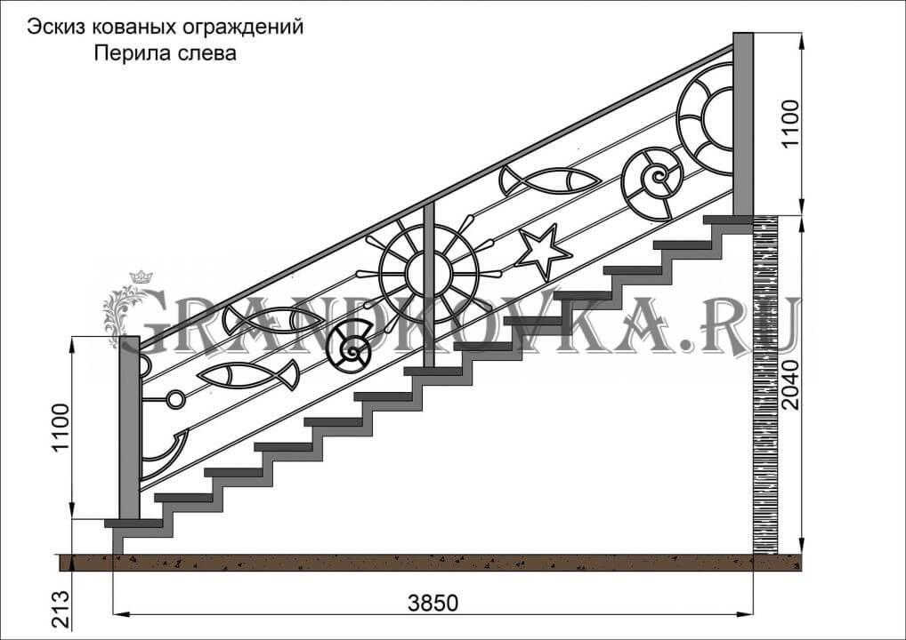 Эскиз кованых перил для лестницы 10