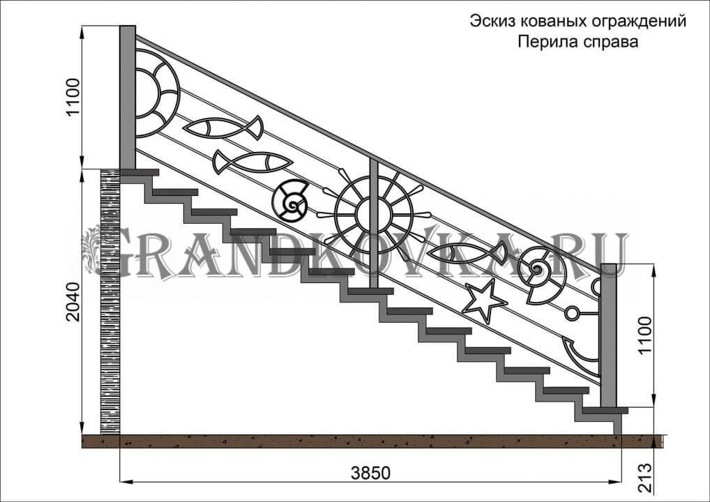 Эскиз кованых перил для лестницы 11