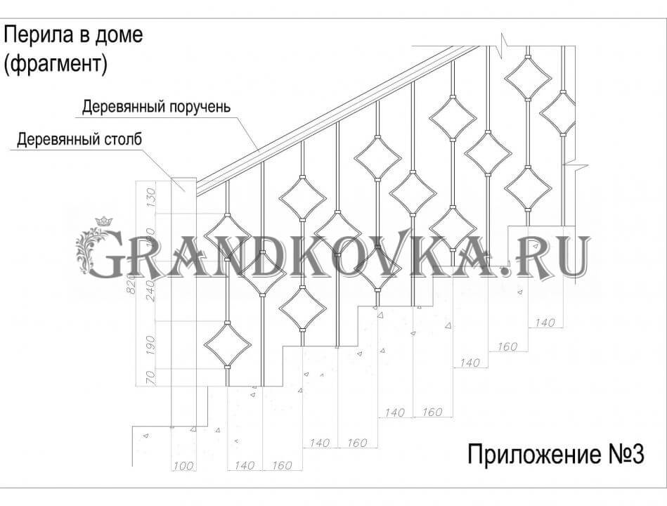 Эскиз кованых перил для лестницы 12