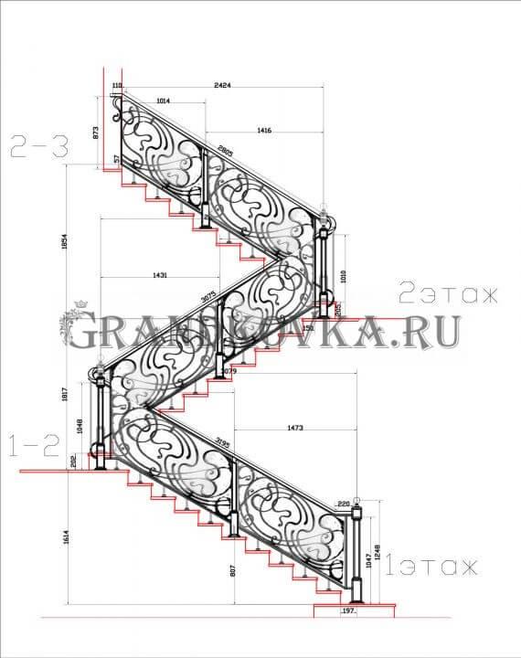Эскиз кованых перил для лестницы 19