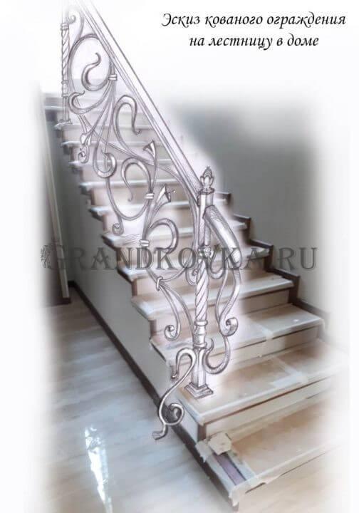Эскиз кованых перил для лестницы 28